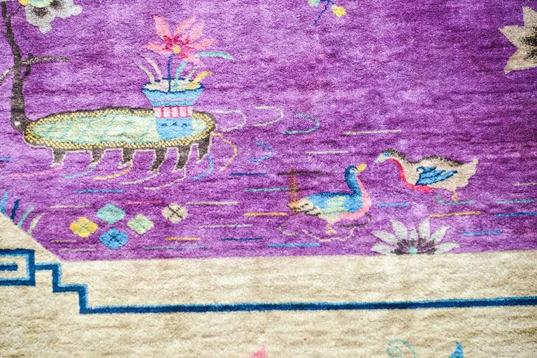 Vegetable Dyed Chinese Art Deco Rug For Sale