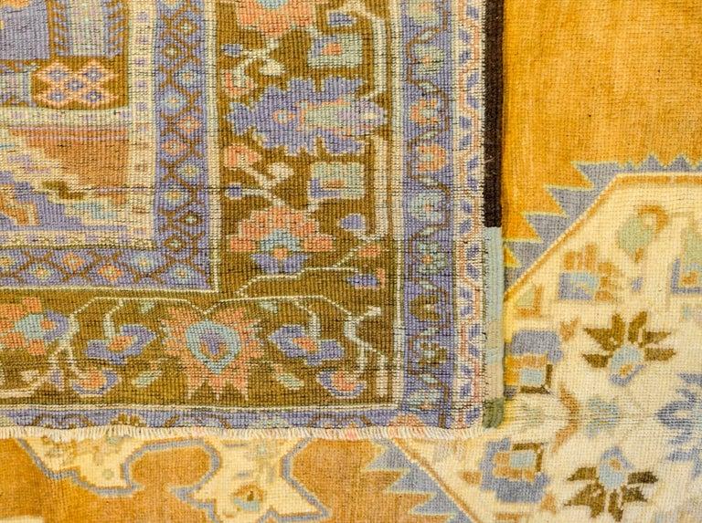 Wool Wonderful Vintage Turkish Oushak Rug For Sale