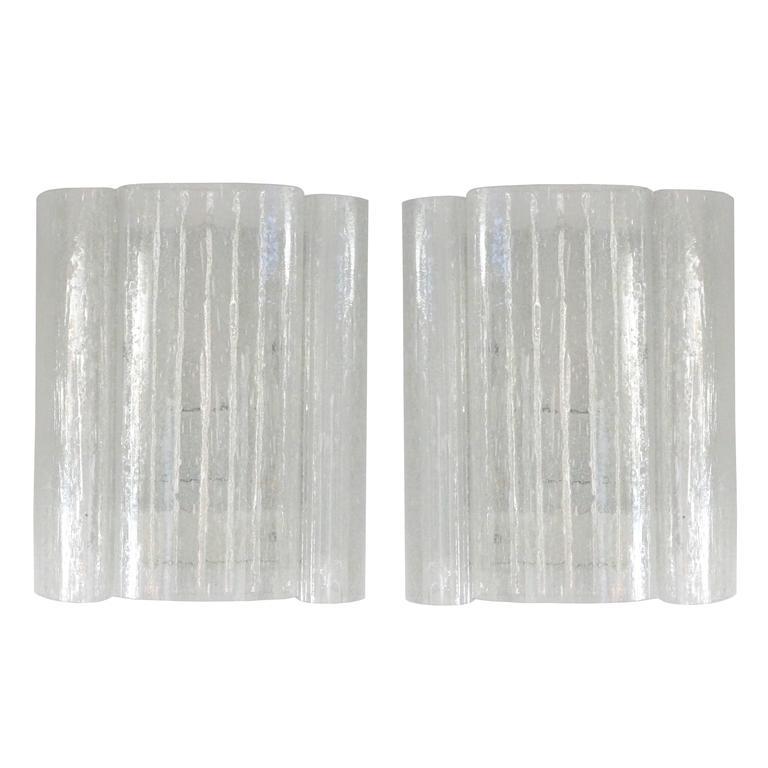 Pair of Mid-Century Modern Doria Leuchten, Clear Eisglas Wall Sconces