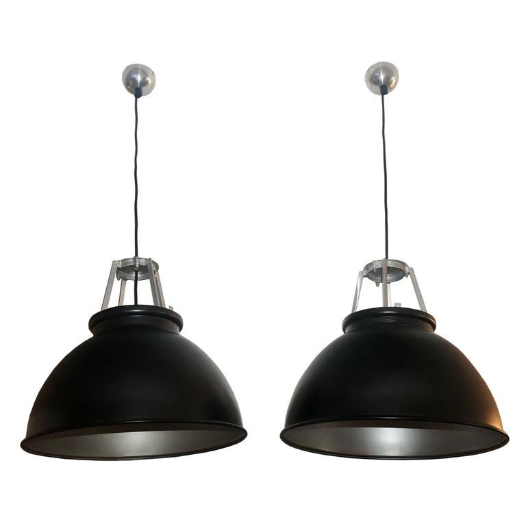 Pair of Industrial Style Metal Light Fixtures, Black and Silver, France, 1940s For Sale