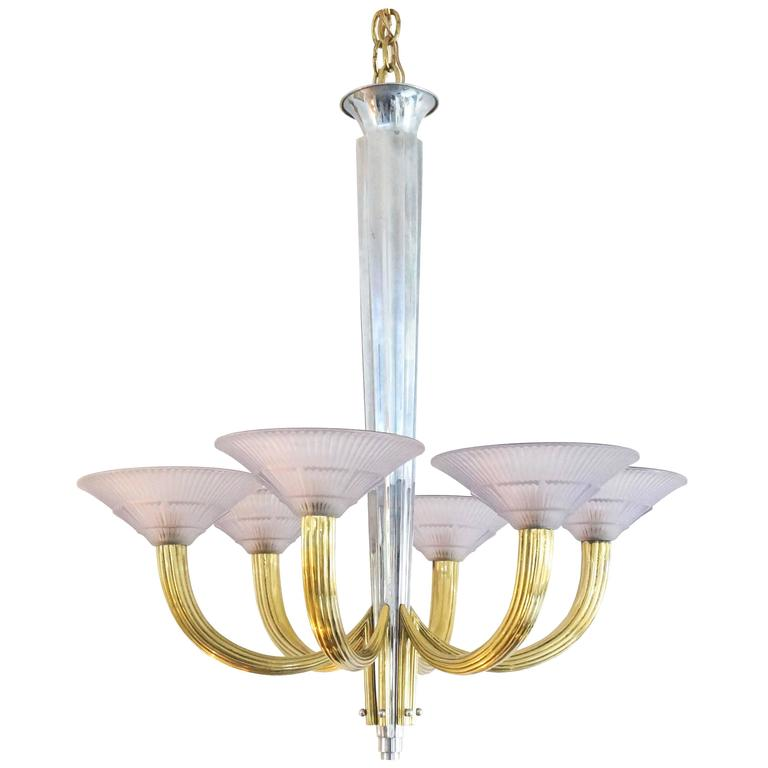 French Art Deco Six-Light Chandelier, Silver Plate, Brass & Violet Glass Shades For Sale