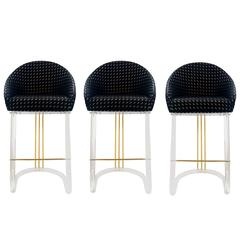 Set of Three Lucite Bar Stools with Memory-Swivel Seats by Lion in Frost