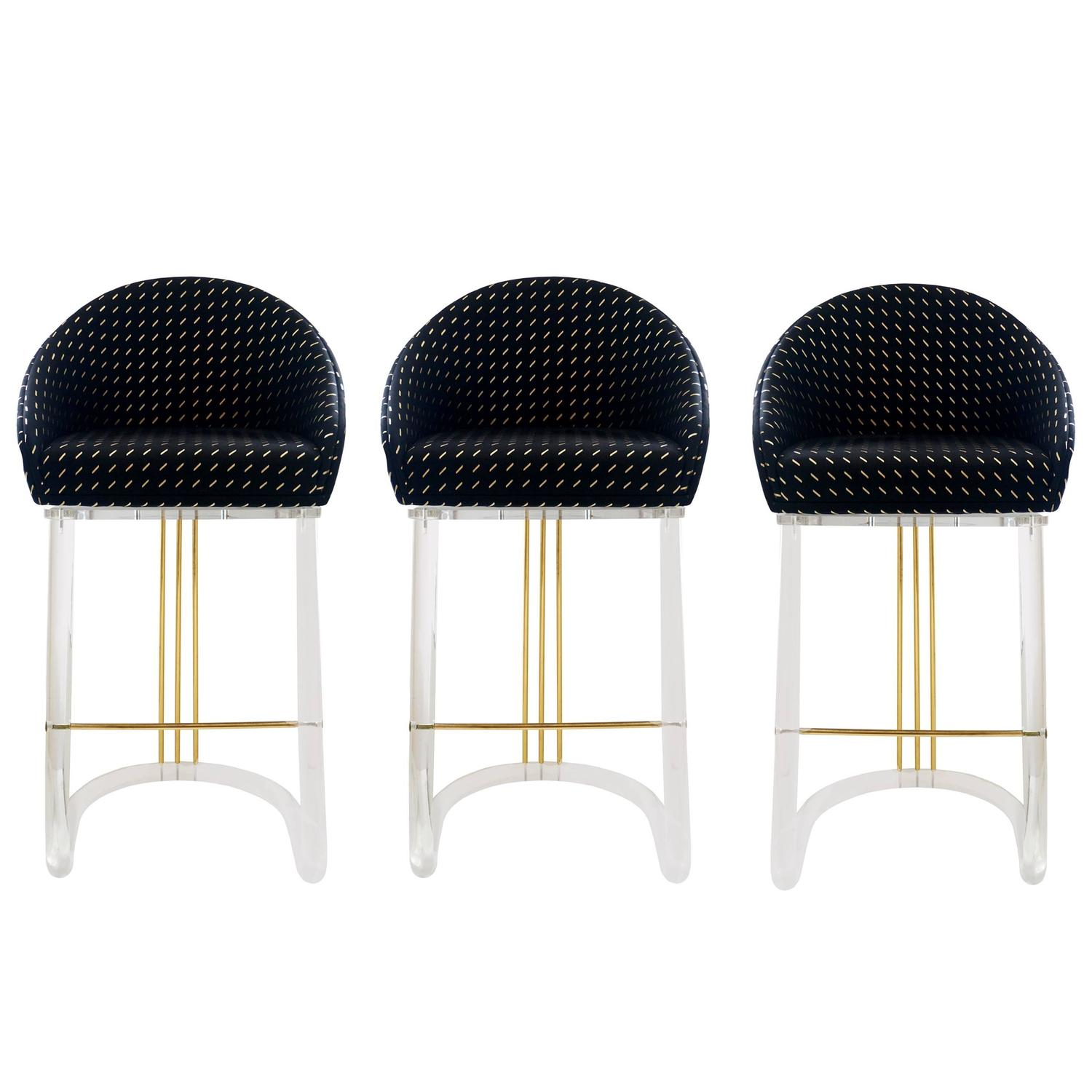Set Of Three Lucite Bar Stools With Memory Swivel Seats By