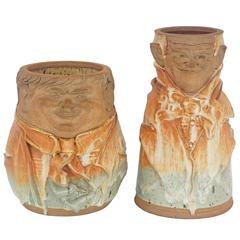 "Set of Two Artisan Earthen-Ware ""Laurel & Hardy"" Vases"