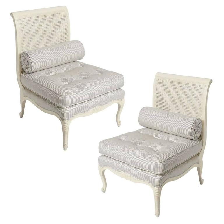 Pair of Louis XV Style Painted White, Slipper Chairs Attributed to Maison Jansen