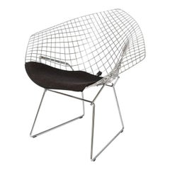"""Diamond"" Chair in Polished Chrome with Black Upholstery"