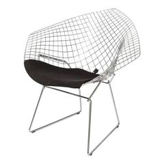 """Bertoria ,""""Diamond Chair"""" in Polished Chrome with Black Upholstery"""
