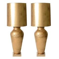 Pair of Hollywood Regency Style Table Lamps with Ron Dier Gold Ceramic Vases