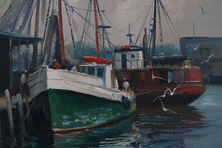 This harbor scene was painted by the American artist M. Stoffa(B.1923-D.2001) sometime in the mid-20th century. Here Stoffa has captured the simple and rustic beauty of the docks in Rockport, Massachusetts.  Note: Canvas dimensions are 16.50