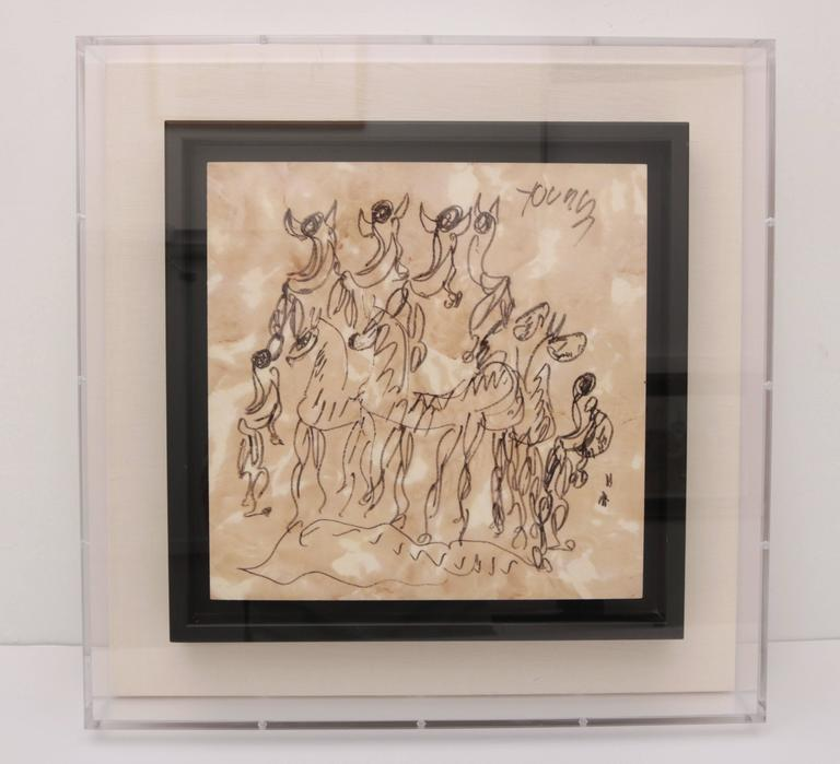 This set of Purvis Young (b.1943-2010) drawings on vinyl were created in 2003 and were purchased by Alexander Millen Gallery from the Purvis Young Art Museum in Ft. Lauderdale, Florida and have recently been custom framed in a lucite box with black