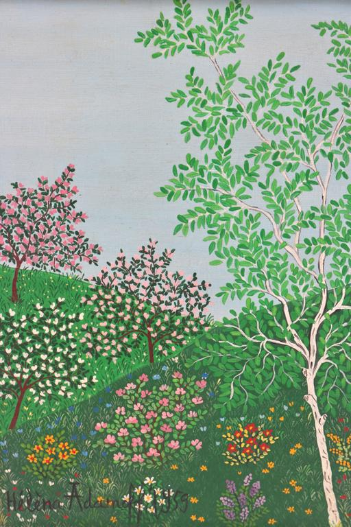 """This charming Mid-Century painting dates to 1959 and would seem to depict the blooms of spring in the countryside.   Note: Canvas dimensions are 8.75"""" height x 6.25"""" width  Note: (Gallery Label) Ansley Graham West Los Angeles 90024 on Reverse of"""