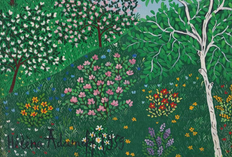 """Mid-Century Modern Mid-Century Oil on Canvas, """"Printemps"""" by Russian Artist Helena Adamoff For Sale"""