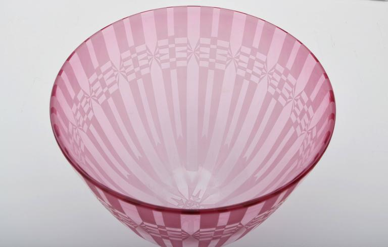Artisan Glass Vase by Renetti Studio, Acid Etched in a Violet Coloration 3