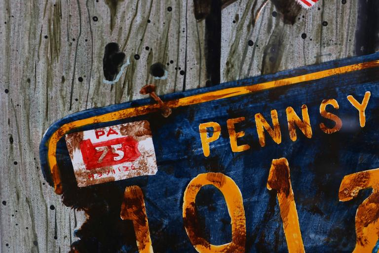 This piece was recently acquired from a Palm Beach estate and definitely captures American nostalgia with its Classic worn license plate. Dembroksy is known for his ability to capture realism with a photo-like quality.  Note: Image dimensions are