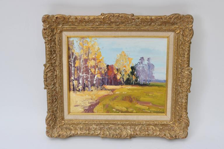 This beautiful set of oil on board painting were purchased in New Orleans and although unsigned the artist was quite talented as they captured the autumn colors and feeling to an autumn day in the country side.  For best net trade price or