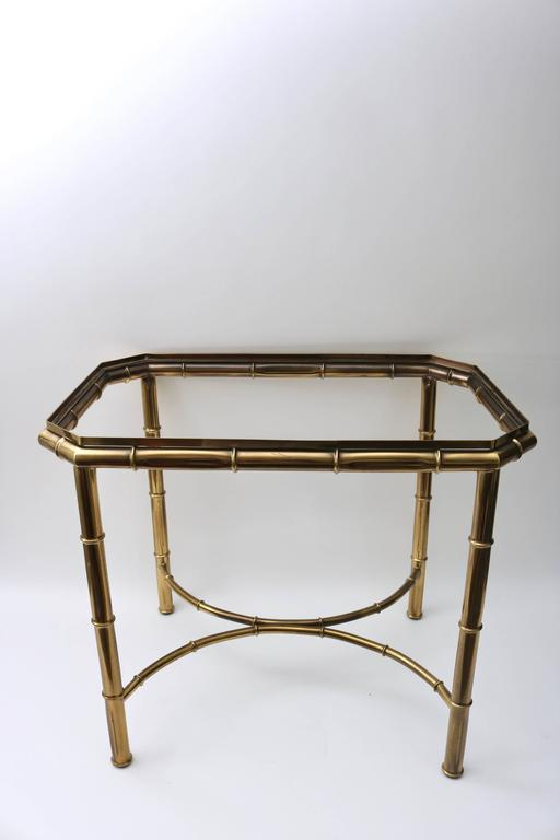 Hollywood Regency Faux Bamboo Tray Table in Antique Brass For Sale