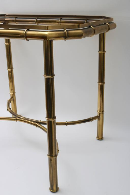 20th Century Faux Bamboo Tray Table in Antique Brass For Sale