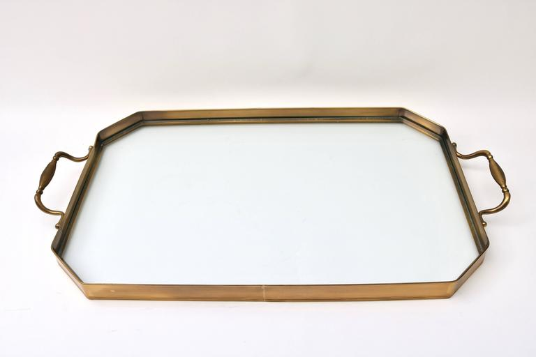 American Faux Bamboo Tray Table in Antique Brass For Sale