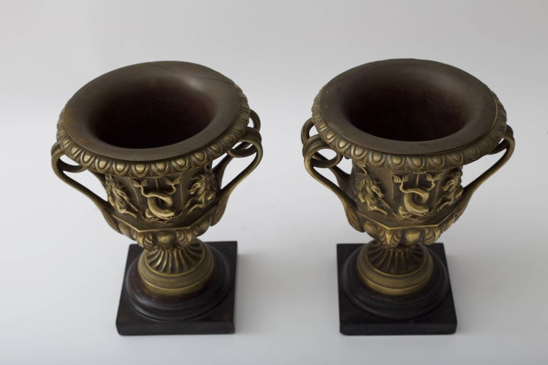 Pair of Bronze Urn-Form Vases  In Good Condition For Sale In West Palm Beach, FL