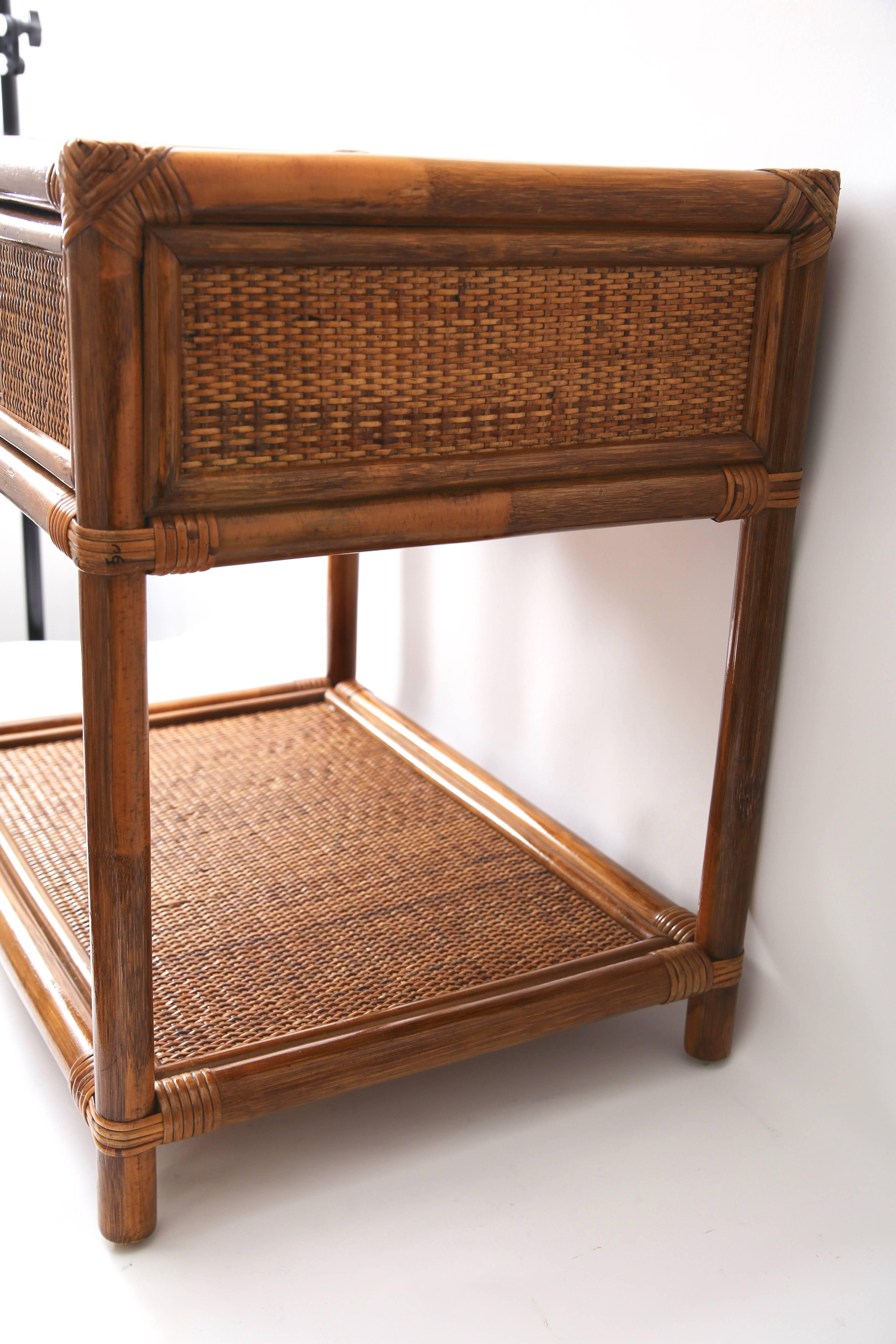 Woven Pair Of Bamboo And Rattan Nightstand, Side Tables For Sale