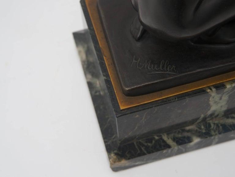 19th Century Art Nouveau Bronze Sculpture by Hans Muller For Sale