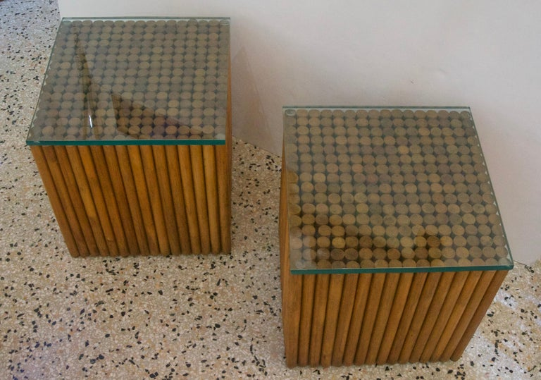American Pair of Square, Vintage Rattan Side Tables For Sale