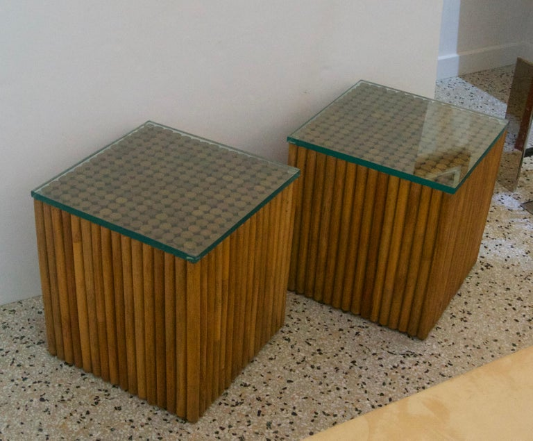Hand-Crafted Pair of Square, Vintage Rattan Side Tables For Sale