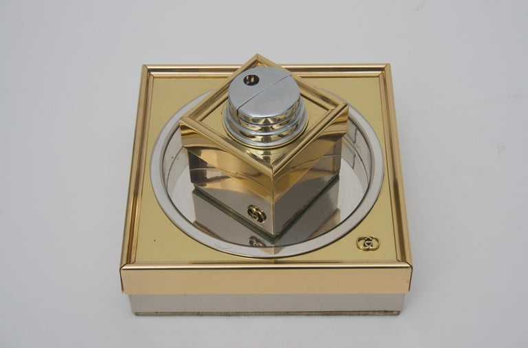 Polished Gucci Ash Tray and Lighter For Sale