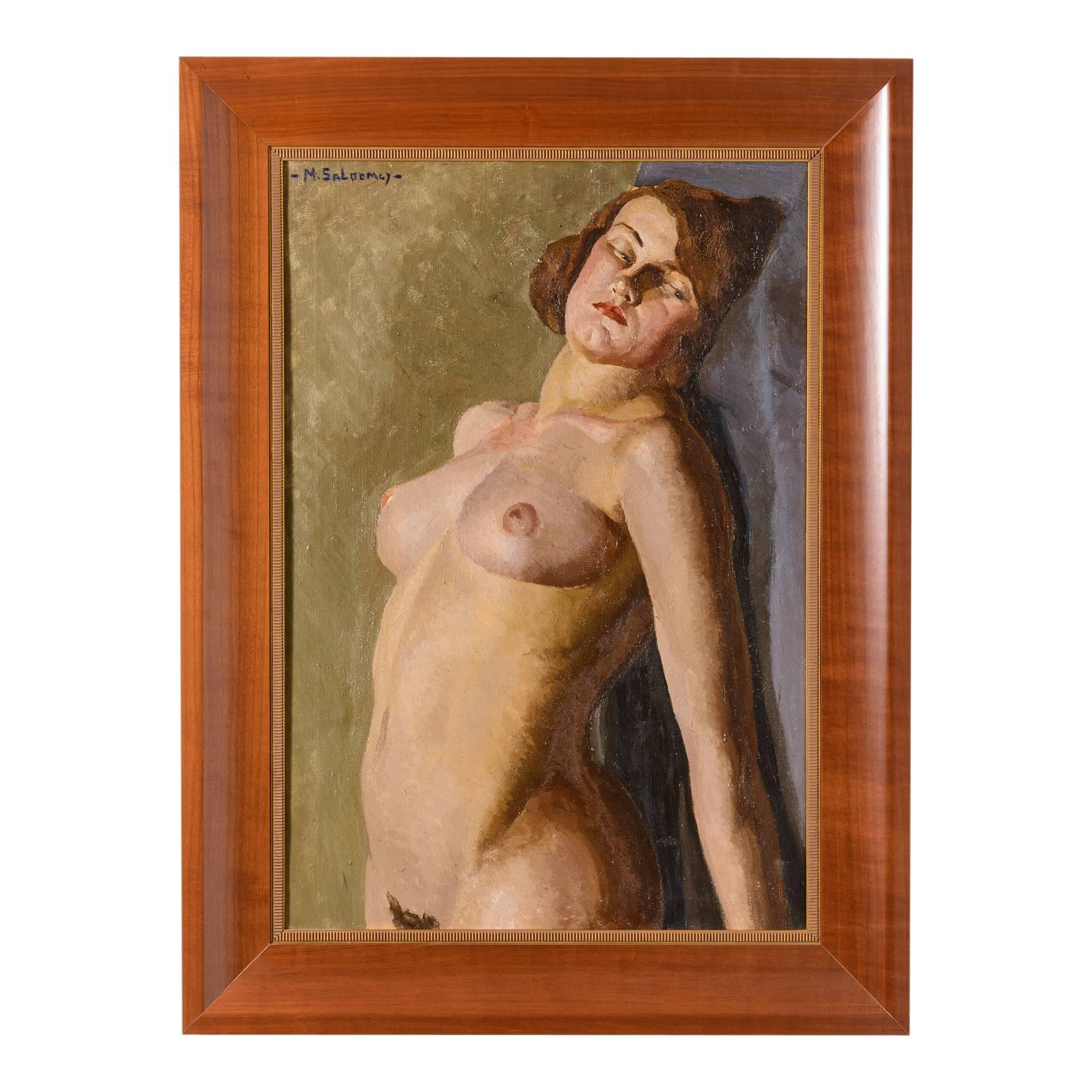 Art Deco Painting of a Female Nude by Mabel Kaiser Saloomey