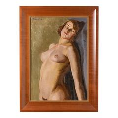 Large-Scale Art Deco Painting of a Female Nude by Mabel Kaiser Saloomey