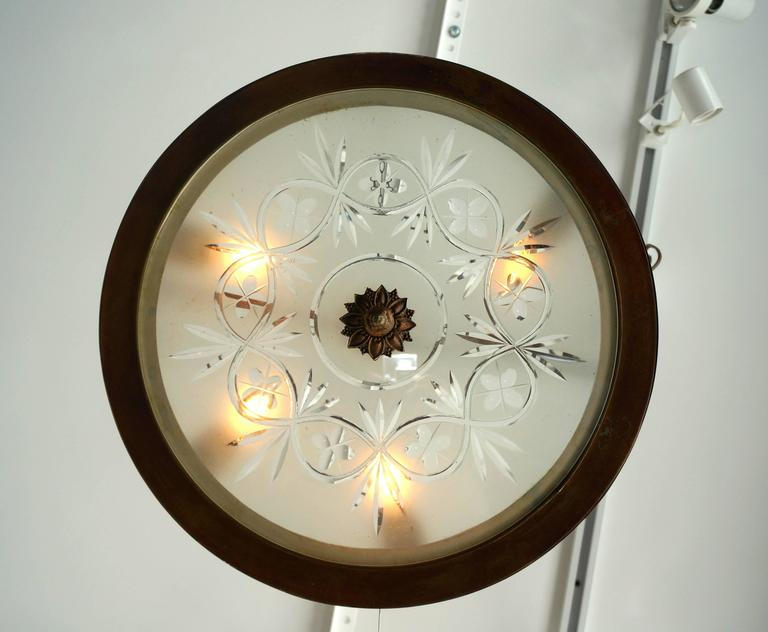 Neoclassical, Art Deco Chandelier in Bronze, Frosted and Cut Glass 6