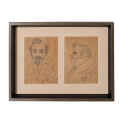 Signed Pencil Sketch of Enrico Caruso and Arturo Buzzi-Peccia by Enrico Caruso