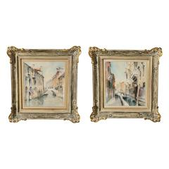 Set of Two Venetian Scenic Canal Watercolors, Italy, Carlo Ravagnan