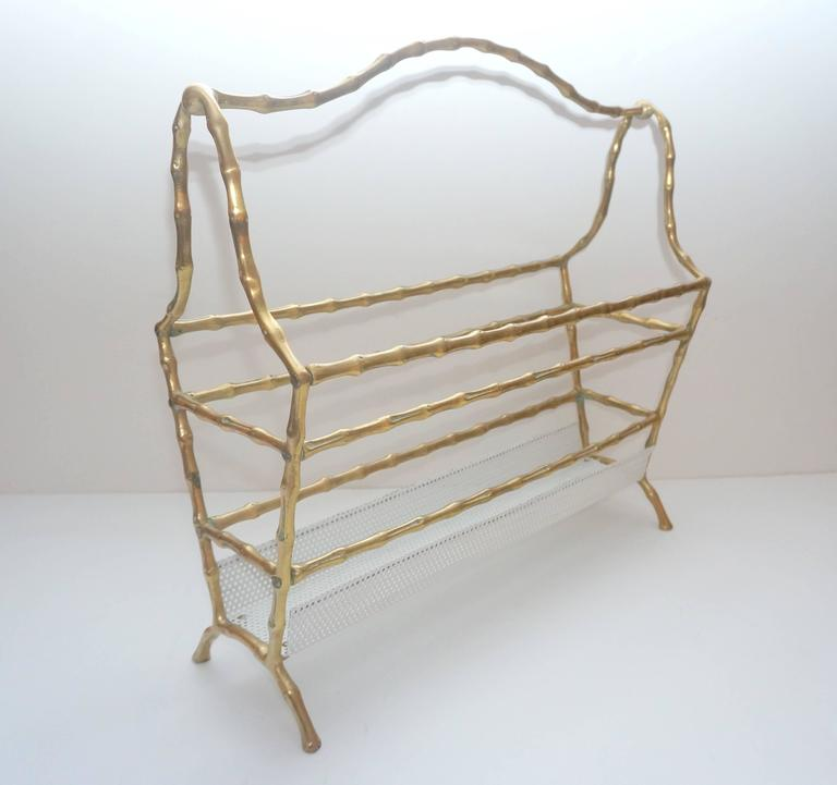 20th Century Hollywood-Regency Style, Faux-Bamboo Magazine Stand, Bronze and Enameled Metal For Sale