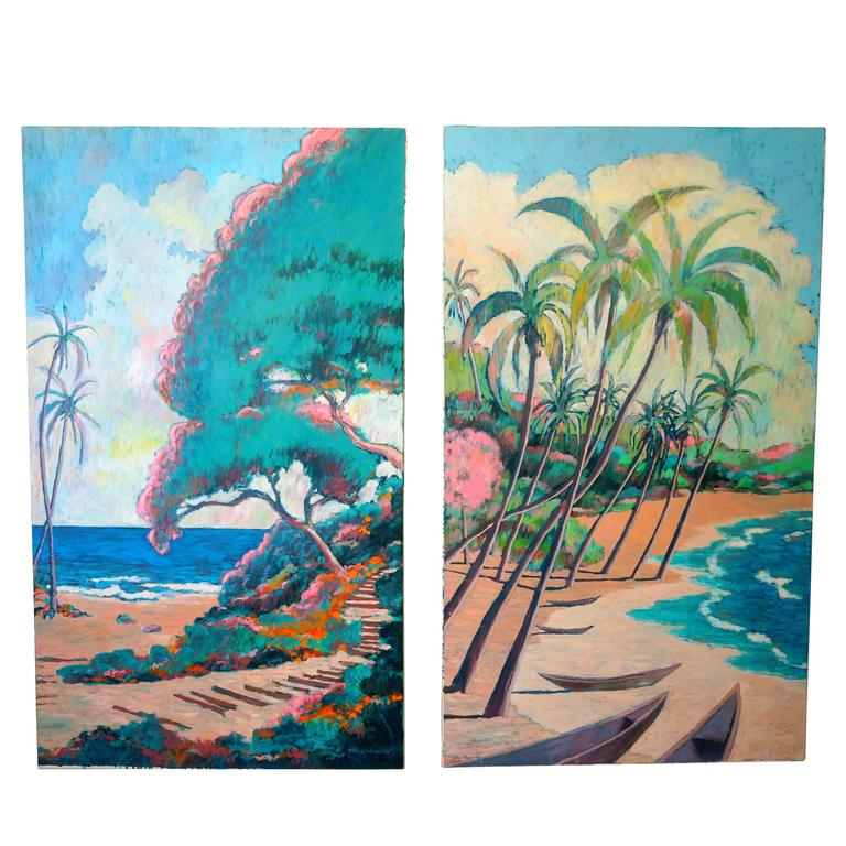 Set of Two Oil on Canvas, Hawaiian Islands by American Artist Nathan Solano
