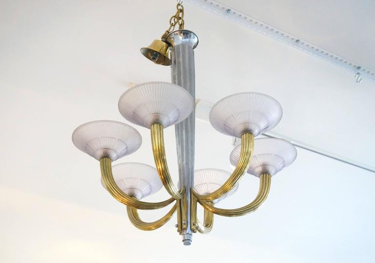 French Art Deco Six-Light Chandelier, Silver Plate, Brass & Violet Glass Shades In Excellent Condition For Sale In West Palm Beach, FL