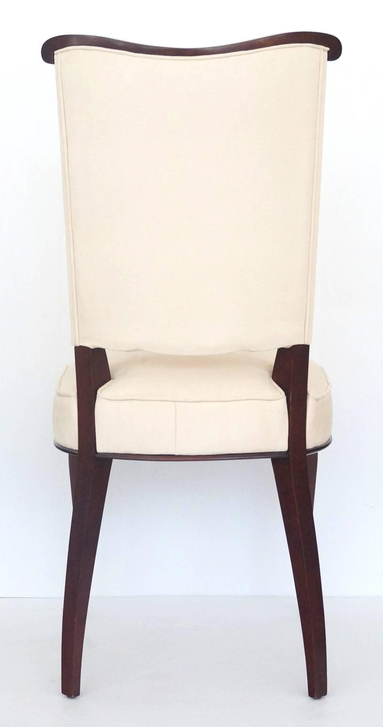Set of six jules leleu style art deco dining room side for Suede dining room chairs