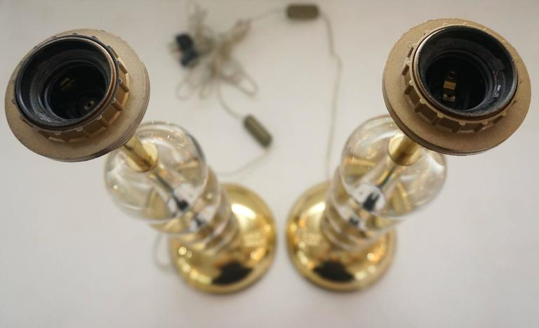 Pair of Art Deco Table Lamps in Brass with Clear Crystal Spheres 5