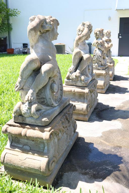 American Large Scale Louis XV Style Concrete Garden Sculptures Of The Four  Seasons For Sale