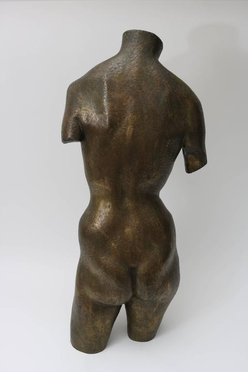 Bronze Nude Female Torso Sculpture  In Excellent Condition For Sale In West Palm Beach, FL