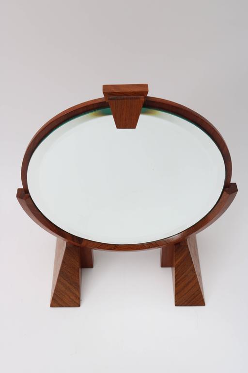 American, Artisan Adjustable Table Mirror In Mahogany, Walnut And Brass 2