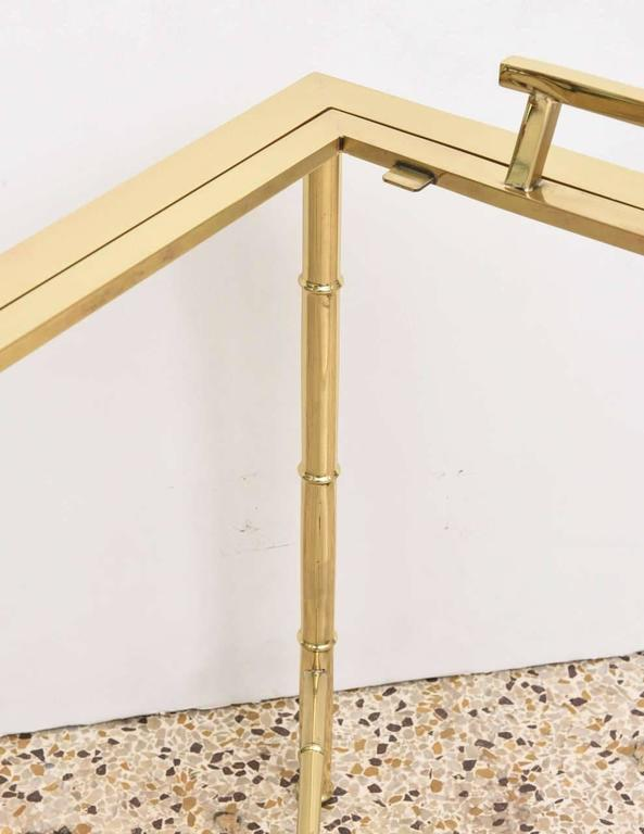 Hollywood Regency Polished Brass Faux Bamboo Tray Table For Sale