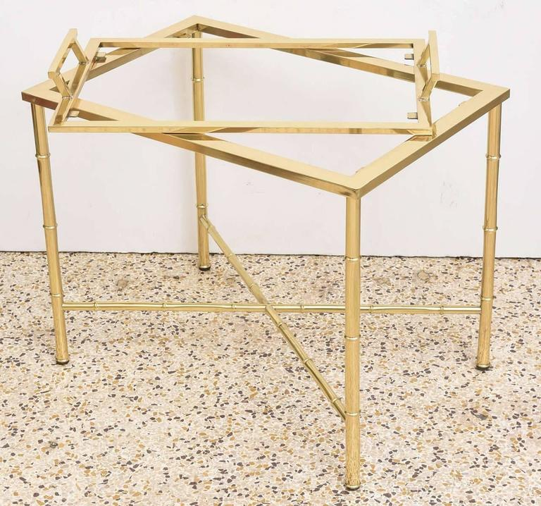 American Polished Brass Faux Bamboo Tray Table For Sale