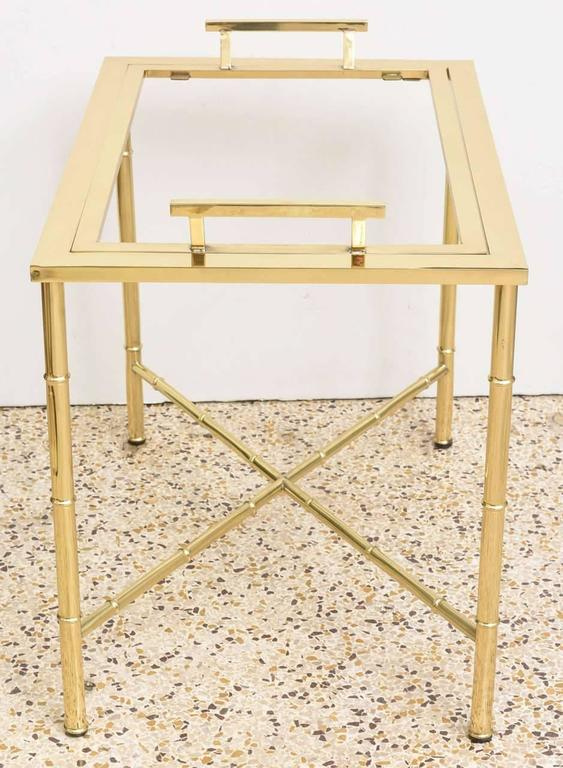 Polished Brass Faux Bamboo Tray Table In Good Condition For Sale In West Palm Beach, FL