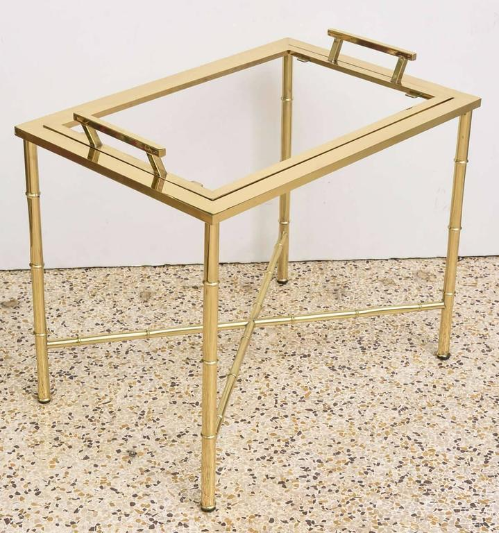 Polished Brass Faux Bamboo Tray Table For Sale 1