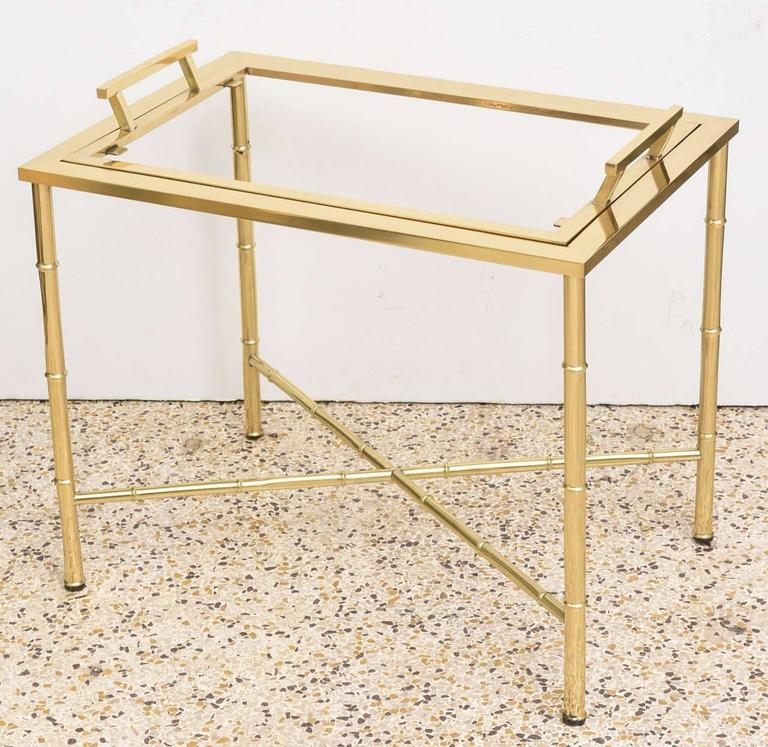Polished Brass Faux Bamboo Tray Table For Sale 2