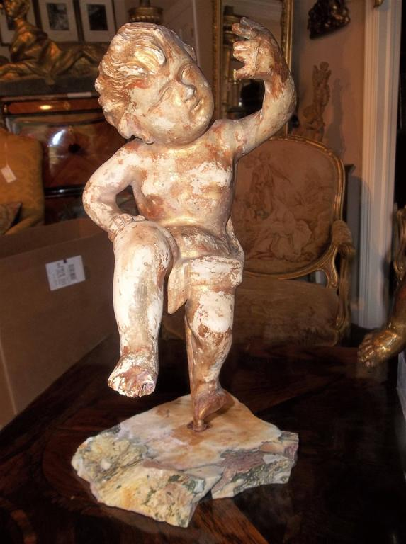 Pair Of Carved And Giltwood Cherubs Or Putti On Stand For