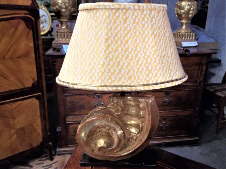 Nautilus Shell Shaped Giltwood Architectural Fragment Now Mounted as Lamp For Sale 1