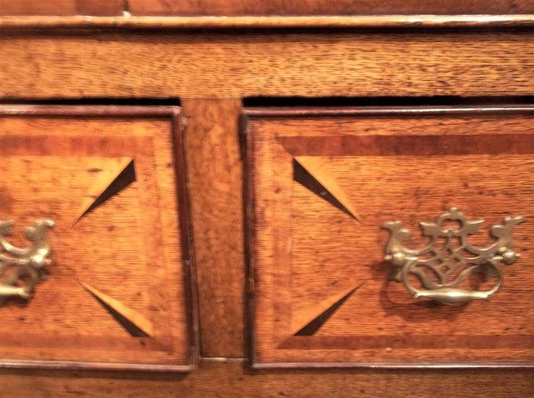 Inlay Welsh or English Inlaid Oak Dresser Base Sideboard With Mahogany Banding