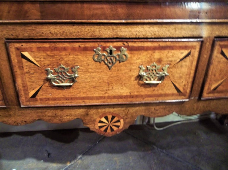 Welsh or English Inlaid Oak Dresser Base Sideboard With Mahogany Banding  In Good Condition In Nashville, TN